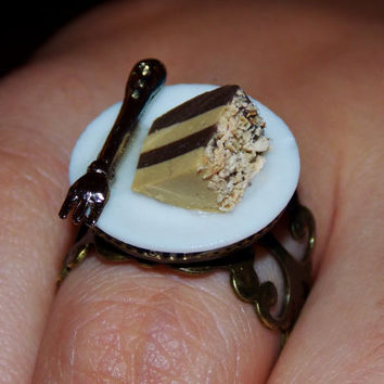 Tiramisu Fashion Ring. Adjustable Food Ring. Novelty Ring.