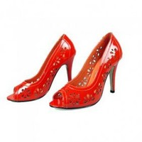 Manolo Blahnik Floral Cutout Pumps Red [20101074] - $206.00 : shoesoutletus.com, shoesoutletus.com