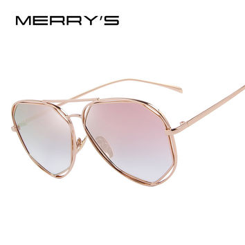 MERRY'S Fashion Women Sunglasses Classic Brand Designer Twin-Beams Coating Mirror Flat Panel Lens Summer Shades S'8492