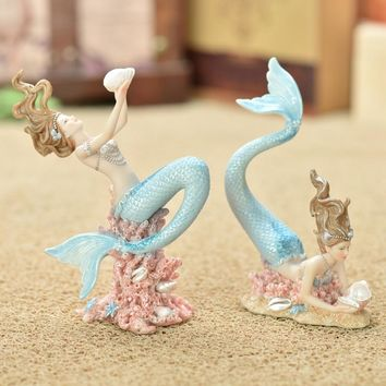 Mermaid decoration home decoration birthday gift smallsweet resin nautical fairy home garden sea fish figurines home decor