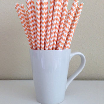 Paper Straws - 25 Orange and White Chevron Party Straws Birthday Wedding Baby Shower Bridal Shower Graduation