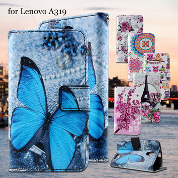 For Lenovo A 319 Phone Cases  Callfree Leather Wallet Case for Lenovo A319 with Stand  - Blue Butterfly