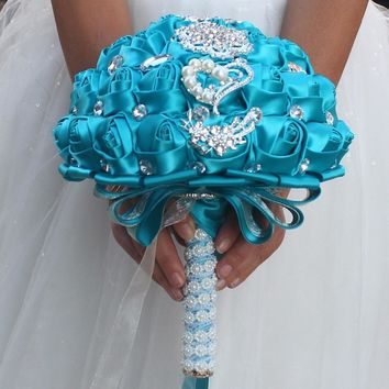 New arrived Sapphire blue brooch bouquet Silk Bride Bridal Wedding Bouquet Bridesmaid royal blue Cloth roses Customizable diamon