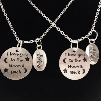 2 Necklaces I Love You To The Moon And Back Best Friends Sister Set