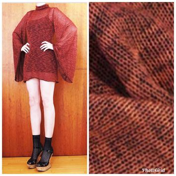 SALE! Close Out Designer Lightweight Rayon Slub Sweater Knit- Red Brick