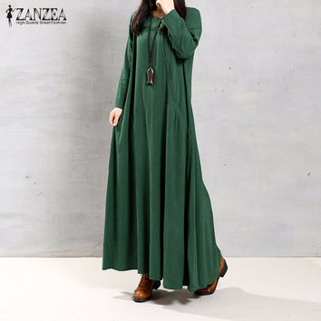 ZANZEA Women Dress Autumn 2016 Ladies O Neck Long Sleeve Pockets Casual Solid Cotton Long Maxi Party Dresses Vintage Vestidos