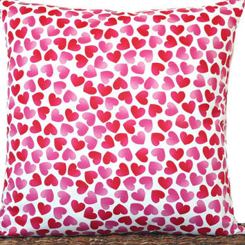 Hearts Pillow Cover Cushion Red Pink White Valentine's Day Decor Decorative 18x18