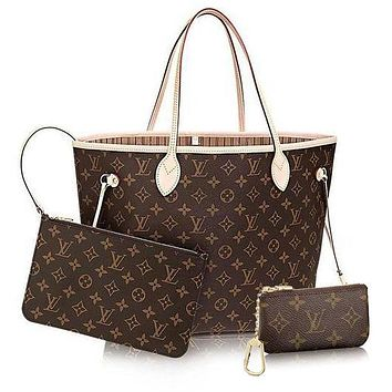 LV Women Shopping Leather Tote Handbag Shoulder Bag Wallet Clutch Bag Wristlet Set Two-Piece Key Pouch