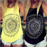 Sun Print Vest Sleeveless T-Shirt
