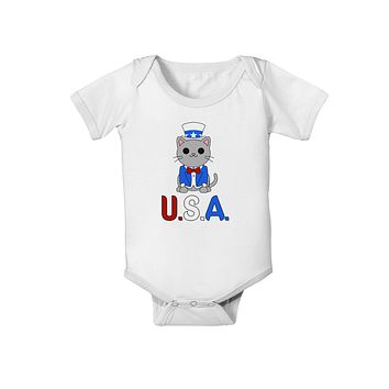 Patriotic Cat - USA Baby Romper Bodysuit by TooLoud