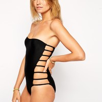 ASOS Lattice Side Bandeau Swimsuit