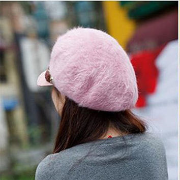 ASHERANGEL Women Winter Warm Slouchy Openings Fluffy Crochet Rib Hat Brim Cap Pink 2
