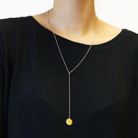 Zodiac Rolo Lariat - Gold filled and Sterling silver Y necklace with personalized disc