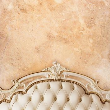Ivory Beige Tufted Headboard With Tan Brown Stone Wall Printed Backdrop - 6201