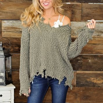 * Just In Time Frayed Sweater : Sage