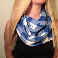 Handmade Infinity Scarf Plaid Flannel - Women,  Men, Double  Layer Circle Scarf - Blue and White Scarf - Back to School Cowl Scarf