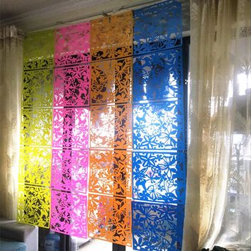 Hanging Screen Carve Patterns Designs Woodwork Screen wall stick window film PVC hotel partition Porch door Curtain 40x40CM