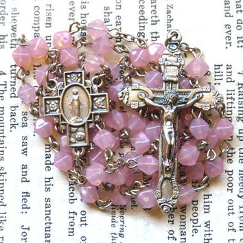 Miraculous Medal Rosary - Immaculate Conception, Catholic Rosary, Pink Czech Glass Beads