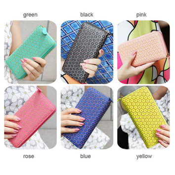 6 colors, leather long wallet, leather wallet, fasion wallet, women wallet, long wallet, candy colors wallet, zipper wallet, flower wallet