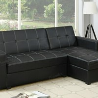2 pc Denton II collection black faux leather upholstered contemporary style sectional sofa set with storage