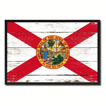 Florida State Flag Vintage Canvas Print with Black Picture Frame Home DecorWall Art Collectible Decoration Artwork Gifts