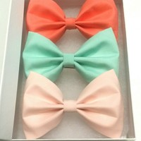Pastel Hair Bow Set w/ Matching Earrings