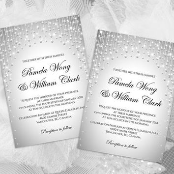 DIY Printable Wedding Invitation Card Template | Editable MS Word file | 5 x 7 | Instant Download | Silver Diamond Shower