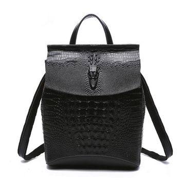 Cool Backpack school LUYO Brand Crocodile Alligator Genuine Leather Female Fashion Vintage Cool Backpack Mochila Feminina Sac A Dos Womens Youth AT_52_3