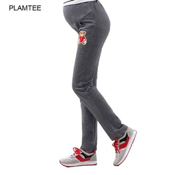 New Plus Thick Velvet Pants For Pregnant Women 2016 Autumn Plus Size Maternity Clothes Printed Maternity Leggings Pocket Legging