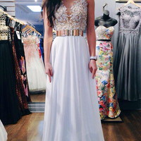 White Chiffon Illusion Neck Prom Dr..