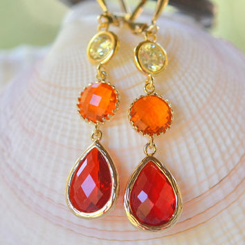 Long Jewel Dangle Earrings in Red Orange and Yellow.  Orange Dangle Earrings.  Long Jewel Earrings. Statement Earrings. Gift for Her.