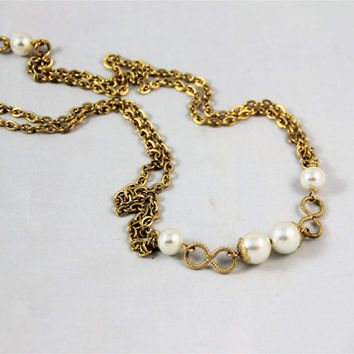 Long gold chain necklace vintage signed Emmons pearls figure eights, double chain lace bead caps, flapper style Great Gatsby high fashion