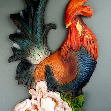 Rooster Carved of wood Wall Decoration Made by Hand by Vladimir Davydov Woodcarving  Gift Wall Art Decoration Cabin and House by Davydovart
