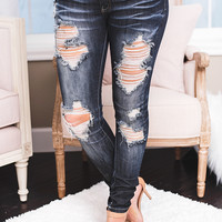 Around Town Distressed Stone Wash Machine Skinny Jeans (Dark Wash)