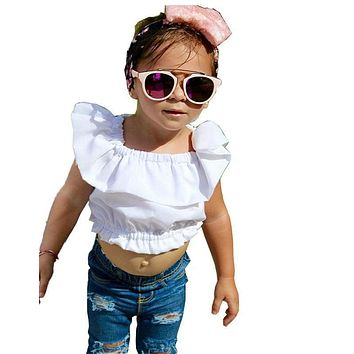 Baby Girl Kids Summer Clothing Set Crop Tops Tank Top T-shirt Clothes Blue Ripped Jeans Pants