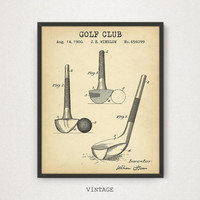 Golf Prints, Golf Club Patent Blueprint Art, Digital Download, Golf Illustration, Golf Decor, Golf Club Wall Decor, Vintage Golf Posters