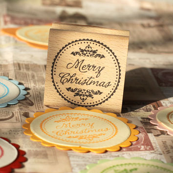 "Merry Christmas  rubber stamps--for Scrapbookings  -Card Making Stamp, Envelope Stamp, Calligraphy Stamp- Wood Mounted Rubber Stamp-2""X2"""