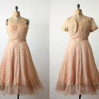 1950's dress - 50s nude lace strapless dress