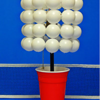 Red Solo Cup Lamp with Ping Pong Ball Lamp Shade - The Beer Pong Lamp