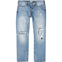 River Island MensLight wash ripped Dean straight jeans