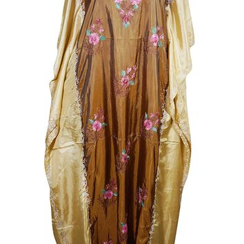 Mogul Womens Caftan Double Shaded Silk Kashmir Floral Embroidered Kaftan: Amazon.ca: Clothing & Accessories