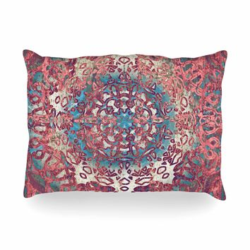 "Nina May ""Magi Mandala Rose Gold"" Coral Teal Abstract Ethnic Mixed Media Painting Oblong Pillow"
