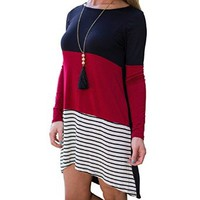 Women's Long Sleeve Loose Casual Three Color Stitching Sweater Dress