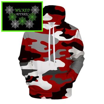 Wicked Apparel Red Camo Hoodie #544
