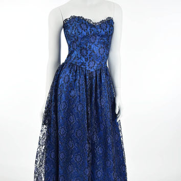 80s Black Blue Lace Strapless Party Dress-S