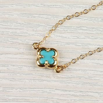 "Turquoise clover necklace, lucky charm necklace, tiny gold clover, 14k gold filled, bridal necklace, ""Turquoise Clover"" Necklace"