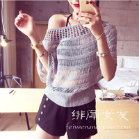 Playful jianling hollow stitching knit blouse