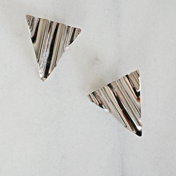 Vintage 1980s Galactic + Ripple Triangle Earrings