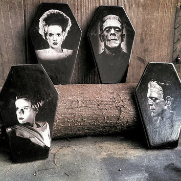 Frankenstein's Monster and Bride of Frankenstein Coffin Coasters