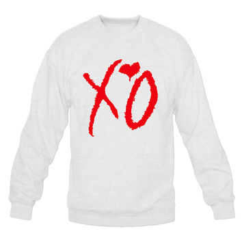 XO The Weeknd Crew Neck Sweat Shirt - Unisex White And Red Rap hip hop Sweatshirt